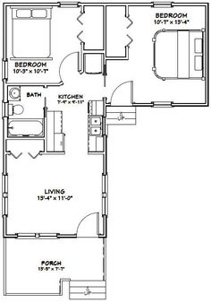 Tiny House -- -- 643 sq ft - Add deck to empty quarter of the plan L Shaped House Plans, Small House Plans, House Floor Plans, L Shaped Tiny House, Shed House Plans, Small Tiny House, Tiny House Living, Tiny House Design, The Plan