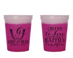 Color Changing Cups Cheers to Love Laughter Cups Mood Cups Monogrammed Wedding Favors Fun Wedding Cups Custom Cup Cheers Cups 1374 by SipHipHooray