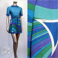 The Frippery: 60s PUCCI Blue Green Braniff MOD MINI Stewardess Dress