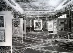 """likeafieldmouse: Marcel Duchamp - Mile of String (1942) """"Duchamp's experiments with space and display continued when, after the exodus of many of the Surrealists out of Europe during WWII, Andre Breton called on him to install the first international Surrealist exhibition in the United States. Titled First Papers of Surrealism after the application papers that most of the émigré artists faced upon entry into the US, the show was held in 1942 at the Whitelaw Reid mansion in New York as a…"""