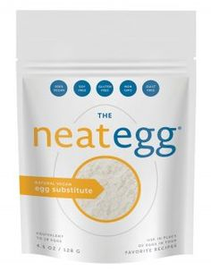Neat Egg Substitute all natural egg replacement - binder in baked goods. Chia seeds and garbanzo beans, easy-to-mix, all-natural egg replacement.