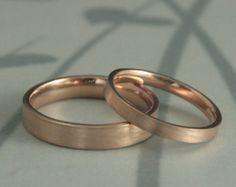 Gold Wedding Ring Set / Handmade 14k Gold  by TorchfireStudio