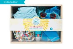 Everything you need to enjoy summertime fun! Honest's Surfboards Sun & Fun Gift Set with exclusive UPF 50 swimwear.