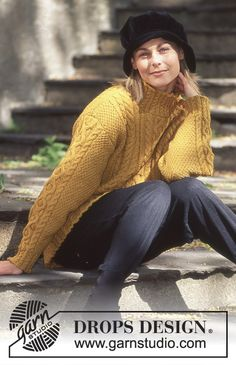 DROPS Sweater in Karisma with texture and cables - Long or short version Knitted Cape Pattern, Aran Knitting Patterns, Knit Patterns, Free Knitting, Drops Design, Cable Knit Jumper, Knit Cardigan, Pull Torsadé, Style Feminin