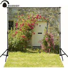 Allenjoy Photographic background Grass flower door window newborn photography custom send rolled  camera fotografica