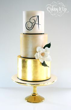 Three tier cake featuring gold leaf on bottom tier, painted gold lustred tier for the middle and a simple hand painted monogram on the top tier along with a single pretty sugar flower by Caking It Up Gold Leaf Cakes, Gold Cake, Three Tier Cake, Caking It Up, 30th Birthday, Birthday Cakes, Cupcake Cakes, Cupcakes, Sugar Art