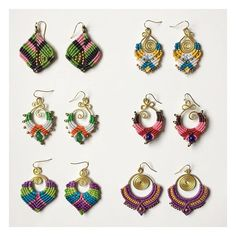 A selection of our vibrant macrame earrings #boho #bohemian #hippy #hippie…
