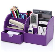 KINGOM 7 Storage Compartments Multifunctional PU Leather Office Desk OrganizerDesktop Stationery Storage Box Collection Business CardPenPencilMobile Phone Remote Control Holder Desk Supplies Organizer Purple >>> See this great product.