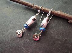 Artisan Jewelry African Trade Beads Beaded Earrings Lapis