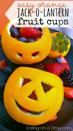 Easy Orange Jack o Lantern Fruit Cups DIY tutorial and recipe!  Ok, I have the cutest Halloween treat for your kids! They are going to love it. It would be super fun for an after school snack or a fun Sunday afternoon treat. I love it because it is healthier too than your traditional treat. You just have to make your kids these cute Orange Jack-O-Lanterns filled with Fruit