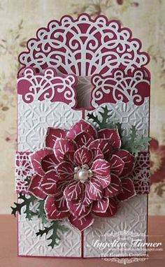 Embossed Fold Christmas Card...with lace trim & 3D poinsettia.