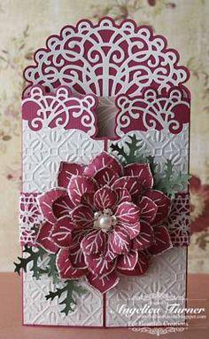 Cliquez pour agrandir: Poinsettia rouge ouvrante carte 2
