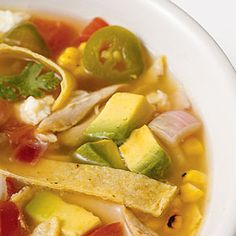 "Easy, fresh, low-cal, yummy! I've been making this for 10+ years & everyone loves it! Broth is clear & light, with zingy flavor from the fresh lime juice. It's called ""SPICY TORTILLA SOUP"" (Real Simple magazine), but honestly it's not spicy at all if you seed & dice the jalapenos. Try it!"