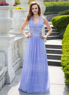A-Line/Princess V-neck Sweep Train Chiffon Charmeuse Prom Dress With Ruffle Beading Sequins