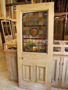 Original Victorian Stained Glass Front Door - Stained Glass Doors Company #StainedGlassKitchen