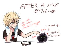 """thelazyfluffybunny: """" Sometimes I wonder if Plagg has fur or not, made me want to draw this scenario with Adrien and Plagg after a bath and Adrien using the hairdryer on Plagg leading to his fluffy self. Tbh,I think a fluffy Plagg is cute xDD """""""