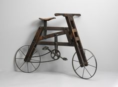 """Child's Bicycle (Sold) Fruitwood, Oak, Iron and Leather English, c.1890  28.00"""" high x 38.00"""" wide x 27.50"""" deep"""