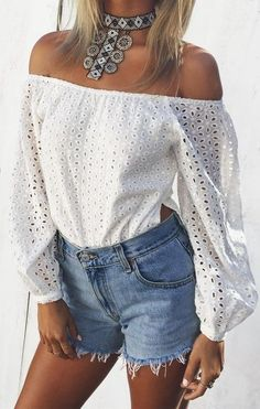 #summer #musthave #outfits | Eyelet Top + Denim
