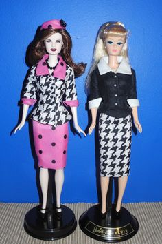 "Esme Barbie Doll and Barbie Loves Elvis Doll wearing suits that were custom made for me by Sylvia Bittner from the Etsy shop ""Hankie Chic."""