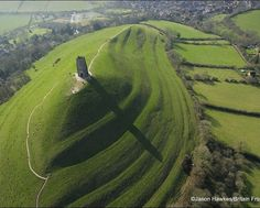 """Location: Somerset, England.  Glastonbury Tor: (Avalon, The """"Sacred Heart"""" of England)  Grid Reference: 51° 09' N, 2° 45' W."""