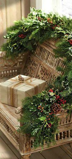 ♔ Christmas. Love the greenery.