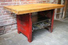 vintage industrial work table furniture