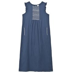 Cyrillus - Navy and White Long Embroidered Dress - Babyshop.com ❤ liked on Polyvore featuring dresses, embroidery dress, long cocktail dresses, long summer dresses, boho cocktail dresses and long evening dresses