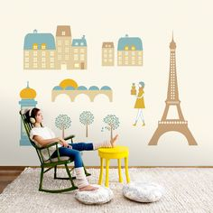 Children's wall mural from designer Cosas Minimas using the iconic images of Paris. Childrens Wall Murals, Torre Eiffel Paris, Wallpaper Collection, Parisian Architecture, Paris Wallpaper, Paris Images, Teal And Gold, Beige Background, Painted Paper