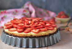 Käsekuchen mit Erdbeeren und Mandelboden ohne Mehl - Naschen mit der Erdbeerqueen