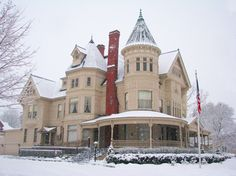 The ornate turn-of-the-century home of Traverse City's founder, lumber baron Perry Hannah.