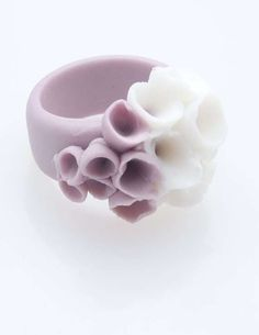 Purple White Flower Ring, Porcelain Ceramic Ring - Las Canteras , Flower Purple… More