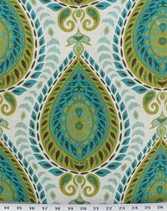 Shiraz Mediterranean   Teardrop design in chartreuse, peacock, turquoise, aqua, and green printed on a white linen blend background. Perfect for draperies, duvets and comforters, upholstery, pillows, and much more. Soft-medium drape. $16.98/yd