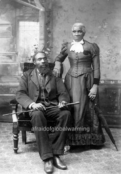 Photo.  Sam & Jane Harper, former slaves tranported by James Brown from Missouri to Windsor, Canada to find freedom.  1890s.