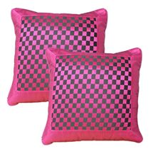 Saaz World Checks Cushion Cover (Pack of 2). Buy now at Dekorworld.in