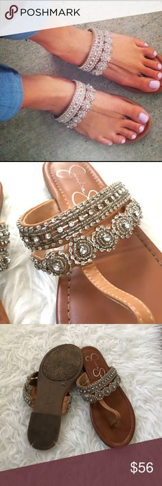 Jessica Simpson rhinestone sandals Jessica Simpson rhinestone sandals size 8. I only wore about 2 times. I got a lot of compliments. They want to go to a happy home! Jessica Simpson Shoes Sandals