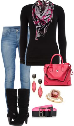 Pink  Black by damussel on Polyvore. Im not a scarf person but I love this one!