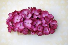 Beautiful antique pink hydrangea hair comb vintage rockabilly style wedding 40s 50s pin up bride hairflower haircomb boho
