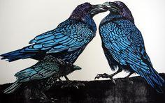 Julia Manning   -  Crow Disturbs the Ravens Series 2  Wood block 90 x 56cm