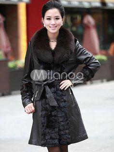 Brown Long Sleeves Belt Sheepskin Womens Fox Fur Coats. See More Fur Coats at http://www.ourgreatshop.com/Fur-Coats-C798.aspx