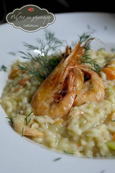 risotto me gampari Fish And Seafood, Shrimp, Salmon, Main Dishes, Recipies, Spaghetti, Pizza, Rice, Cooking Recipes