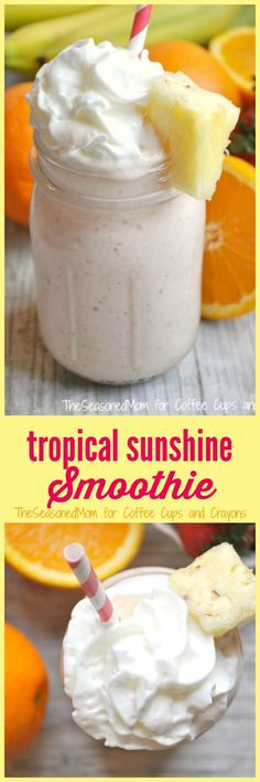 Welcome the warmer weather with this wholesome, filling, and protein-packed Tropical Sunshine Smoothie. Its a delicious and healthy on-the-go breakfast or snack that your entire family will love!