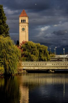 Clock tower in Spokane, Washington's Riverfront Park