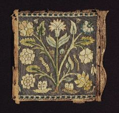 Square panel of embroidery        English, 17th century         England  Dimensions      21 x 21.5 cm (8 1/4 x 8 7/16 in.)  Medium or Technique      Linen with silk and silver metal thread embroidery