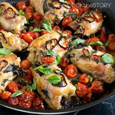 Easy Baked Chicken with Tomatoes, Basil and Chillies