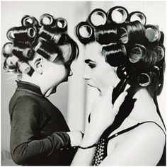 mom and daughter curlers