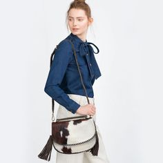 PRINTED LEATHER MESSENGER BAG from Zara