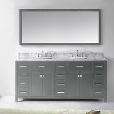 "Virtu Caroline Parkway 73"" Double Bathroom Vanity Set with Mirror"