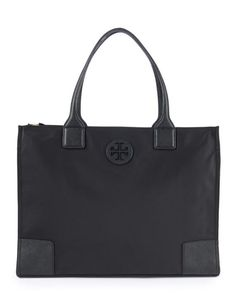 Ella Packable Logo Tote: A lightweight, minimalist Tory Burch tote is made from a durable, water-repellent nylon and trimmed in a richly textured faux leather. Its packable design folds and snaps shut for easy stashing when you travel. Nylon. Import.