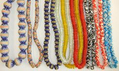 """Via Russ Nobbs.  """"Bright new beads from the powder glass bead makers in Ghana."""""""
