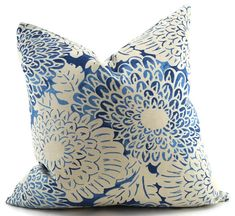Shades of Blue Modern Floral Pillow Cover Throw by ThePillowSpot